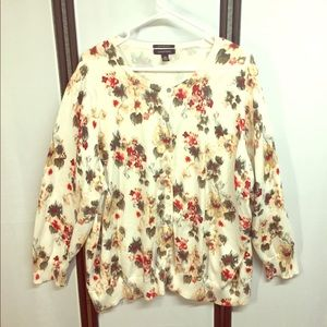 Land's End 3X Ivory Floral Supima Cotton Cardigan
